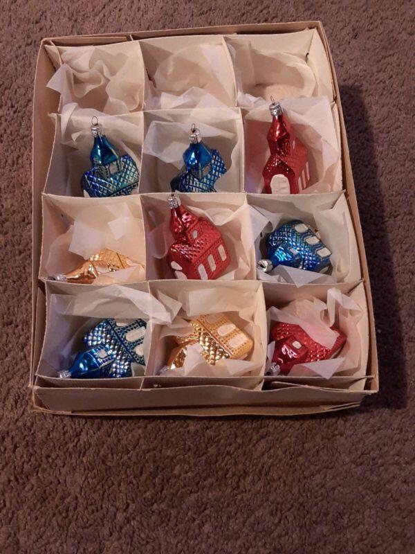 9 Vintage Hand Painted Glass Churches Christmas Ornaments made Czechoslovakia