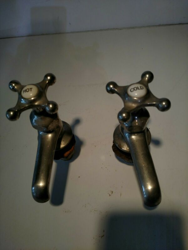 Antique, Vintage 1922,  Crane Sink Faucet Victorian Nickel Porcelain, Pair