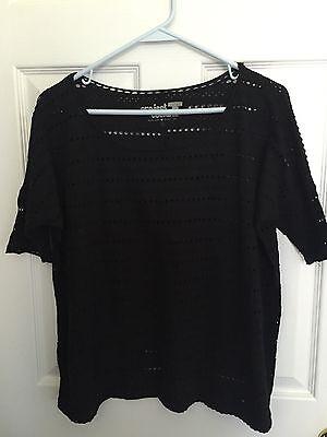 (Project Social Blouse Designer Shirt Woman's 1/2 Sleeve Shirt SZ Small S Black)