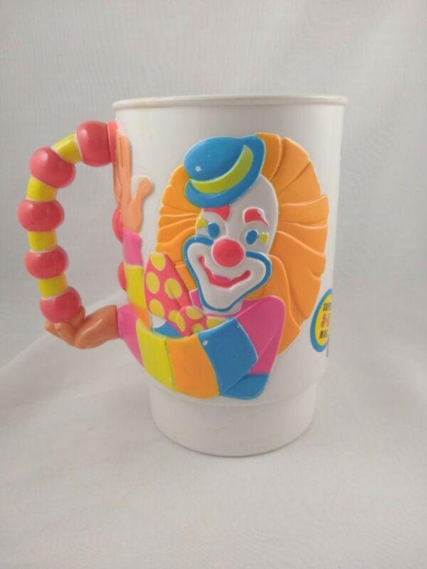 Vtg 1990 Plastic Cup Ringling Bros and Barnum & Bailey Circus 3D Mug Clown neon