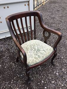 Big Vintage wood accent chair