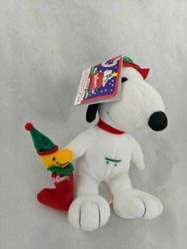 "Whitmans Snoopy Woodstock Christmas Plush 7.5"" Stuffed Animal Toy"