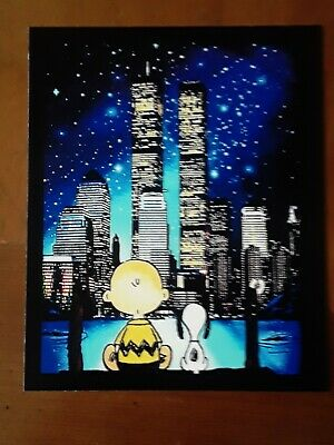 Peanuts Snoopy Charlie Brown ♡ New York ♡ Twin Towers Tribute Magnet.  - Charlie Brown Snoopy