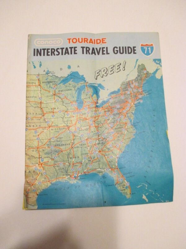 Vintage 1971 CONOCO TOURAIDE INTERSTATE TRAVEL GUIDE Gas Station Road Map