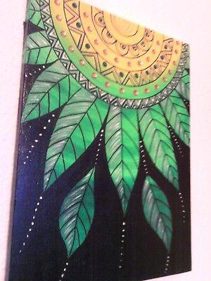 """""""Traumfänger,gelb-grün""""Acryl auf Leinwand,30 x 40 cm,Original, Glitzersteine,neu"""