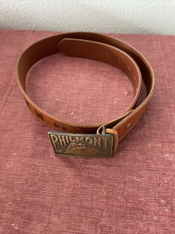 Philmont-Cimarron, New Mexico Scout Leather Belt And Buckle Size 34
