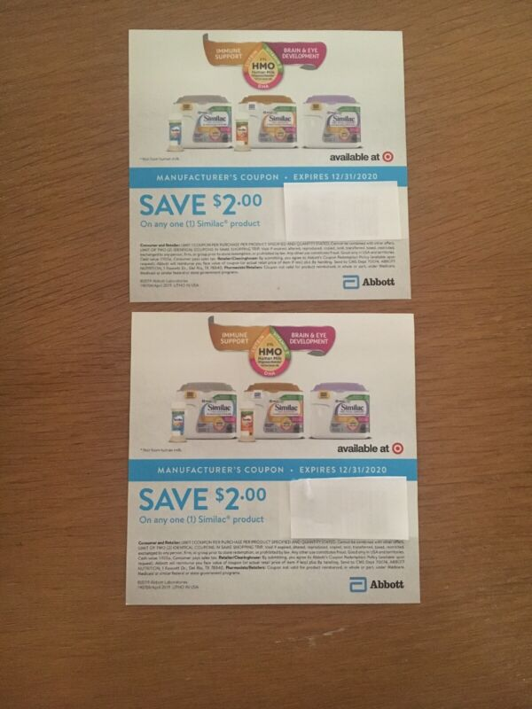 2 Similac Formula $2 Coupons $4 Total Expires 12/31/2020