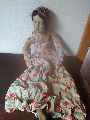 alte Marionette;um 1870;Holzkopf;Zigeunerin,