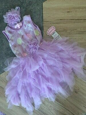 Popatu Girls Dress Lavender Color Tulle Tutu Ruffle Floral Dress w/ (Lilac Tutu)