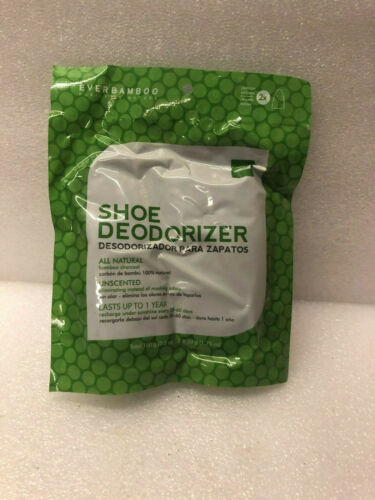 EVERBAMBOO UNSCENTED CHARCOAL SHOE DEODORIZER **1 PACK TREATS 1 PAIR OF SHOES**