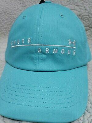 UNDER ARMOUR Women's UA Wordmark Free Fit HeatGear Hat Light Blue NEW