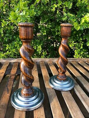 Vintage Antique Pair Wooden Candle Stick Holders