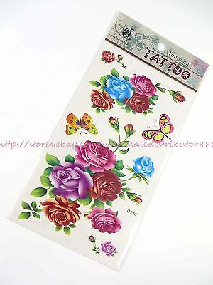 US SELLER floral fake tattoo rose butterfly Tatoo Temporary Skin Sticker (Butterfly Tatoo)