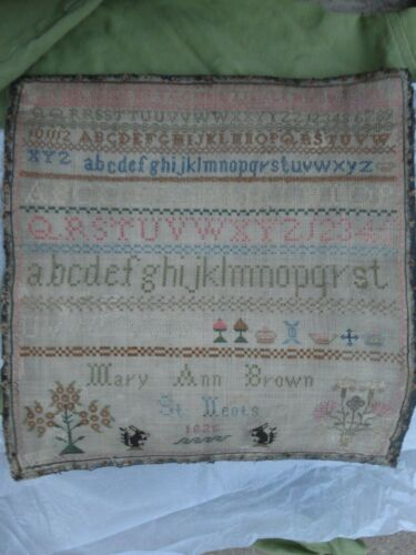 Antique English Sampler Squirrels   1826