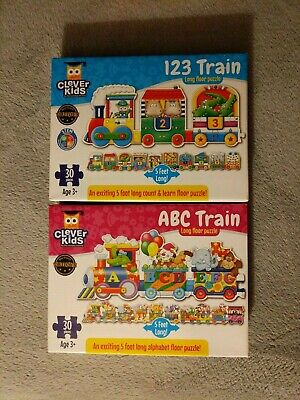 New Learning Journey Floor 2 Puzzle Lot 123 & ABC Train 30 Pieces 5 Feet Long!