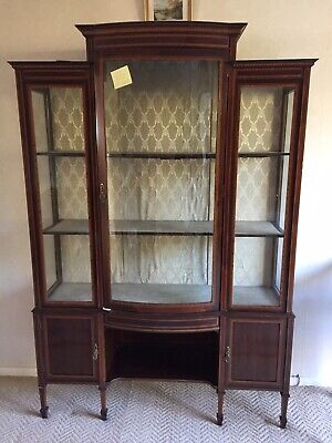 Edwardian Inlaid Mahogany Display Cabinet, Bow Front, Glass, Tapered Legs