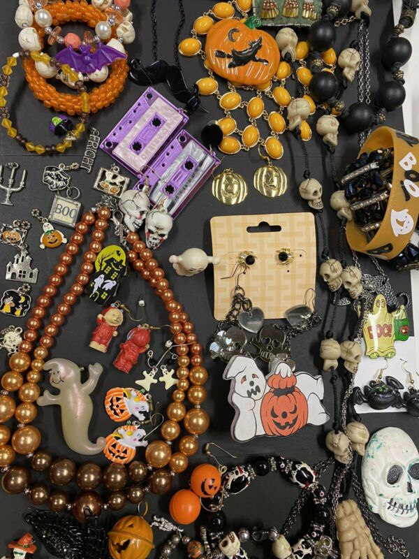 Vintage to Modern Jewelry Lot Halloween Pumpkins Pendants Earrings Pins Stickers