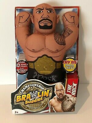 WWE Brawlin Buddies Dwayne The Rock Johnson Talking Plush Toy Wrestling 2013 New