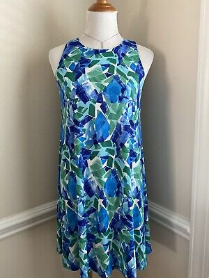 Ralph Lauren Sleeveless Dress Size 6 Blue Green Sea Glass Print Sundress Summer