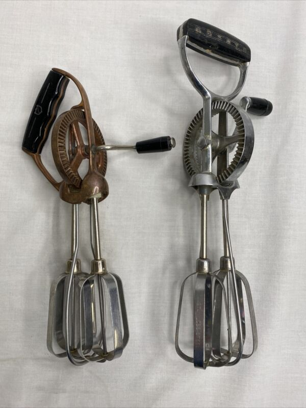 Ekco Hand Mixer Stainless Steel Vintage Heavy Duty USA + 1 Stainless Egg Beater