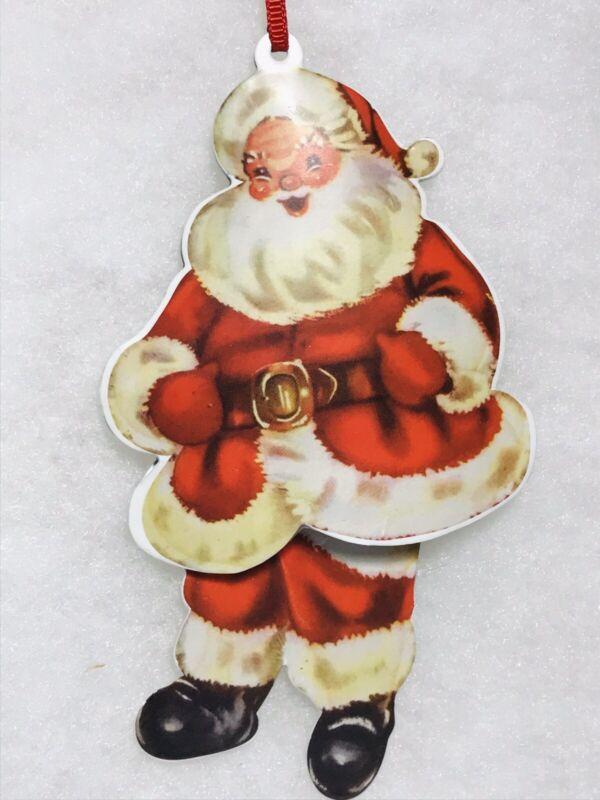 Vintage Look Santa Claus Dangle Leg Christmas Tree Ornament  Tin