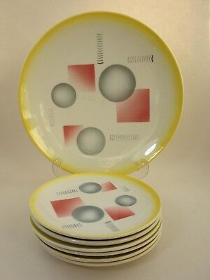 Seltenes Art Deko Keramik Service Spritzdekor SMF Schramberg Konfekt  Ceramic