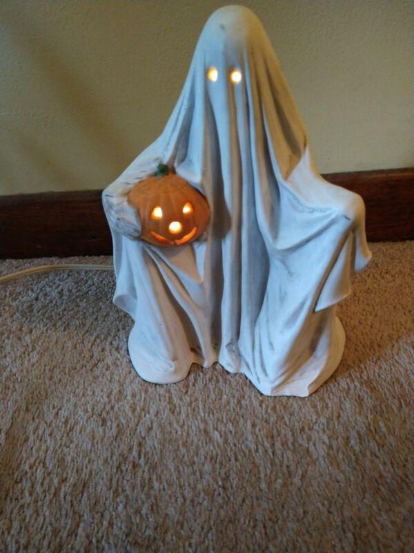 Vintage Inspired CERAMIC HALLOWEEN Ghost LITE Jack-o-lantern