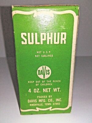 Vintage DAVIS SULPHUR BOX - Never Opened - 4 oz.