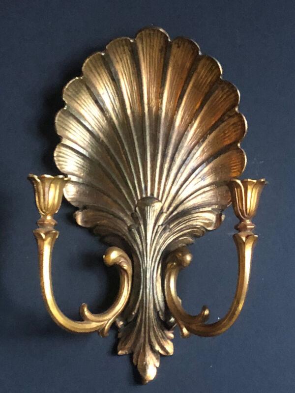 Vintage Gold SYROCO PLASTIC Sconce *SHELL CANDELABRA Antique Hollywood Regency