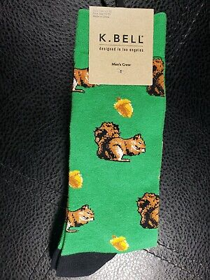 K Bell Men Socks Squirrel Acorn Nuts Green Crew 1 Pair Shoe Size 6.5 - 12 New