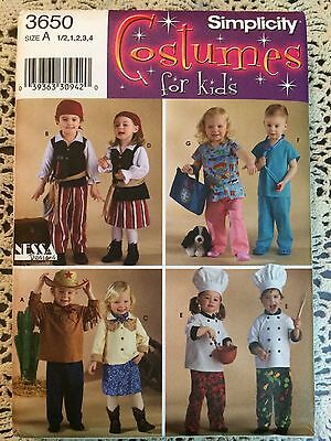 Simplicity 3650 Pirate Chef Cowboy Toddler 1/2 1 2 3 4 Uncut Halloween Costume - Toddler Chef Costume Halloween