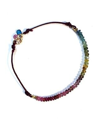 """Exquisite original multi gemstone knotted bracelet solid 14k gold 7"""""""