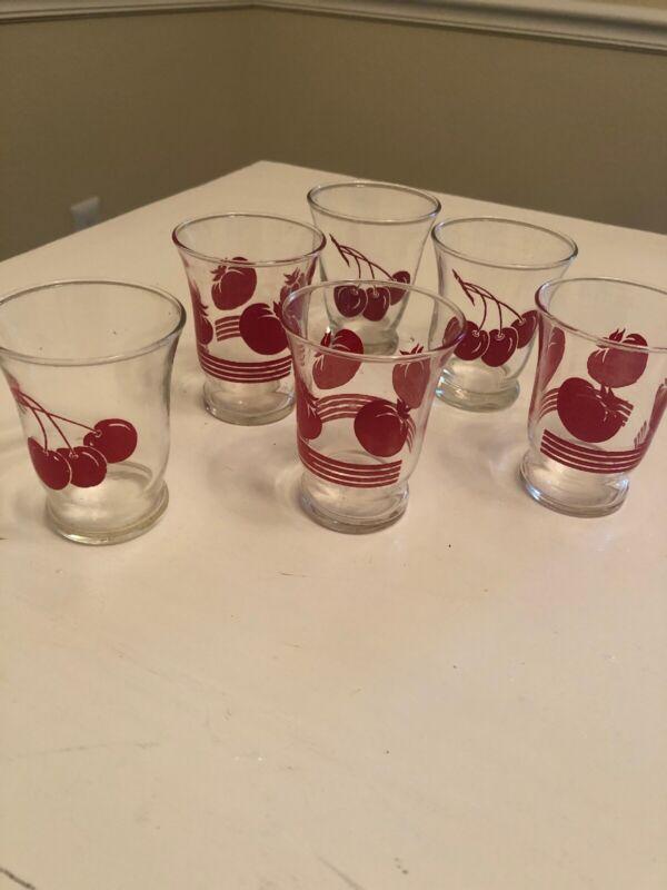 Vintage Set  Of 6 Swanky Swig Barware Juice Glasses  Cherries And Tomatoes