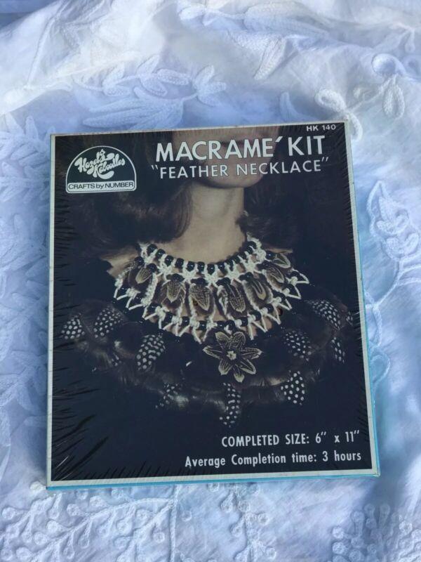 Vintage 1970s Hazels Kaboodles Macrame Feather Necklace Kit -sealed New!