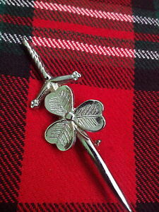 T-C-Irish-Shamrock-Kilt-Pin-Chrome-Finish-Irish-Shamrock-Kilt-Pin-KILT-PIN-KILT