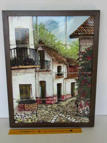 "Vintage Davalos Hand Painted Mexico Tile Cer-Art Ceramic Framed *18.75"" x 14.25"""