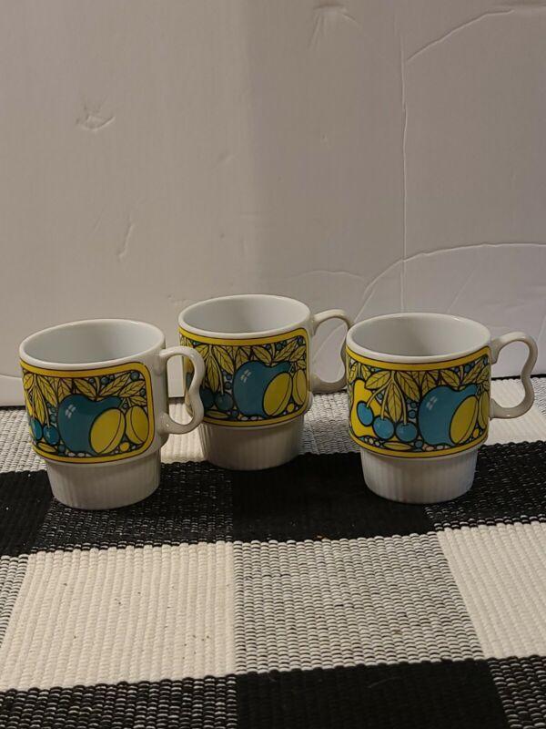 Vtg Set 3 Mid Century Modern Stacking Coffee Cup Mug Retro Japan MCM