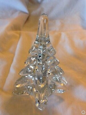 Vintage Italian Murano Style Clear Art Glass Christmas Tree
