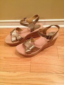 Ladies gold strap wedge sandal size 8
