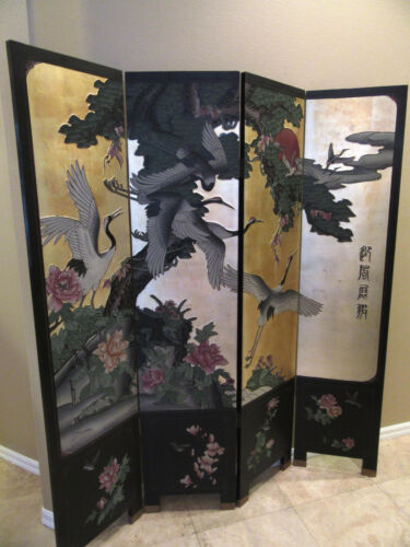 Antique Asian Screen 19th Century Black Lacquer Gilt Polychrome 4 Panel Folding