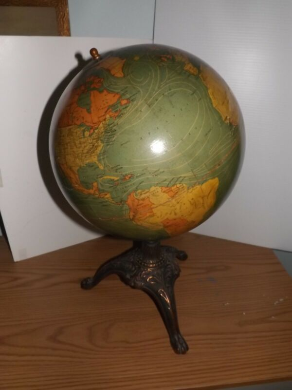 "Antique 12"" Terrestrial Globe by W & A. K. Johnston Ltd. On Cast Iron Base"