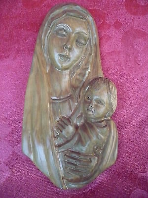 Pretty, Old Wood Relief__Madonna with child ____