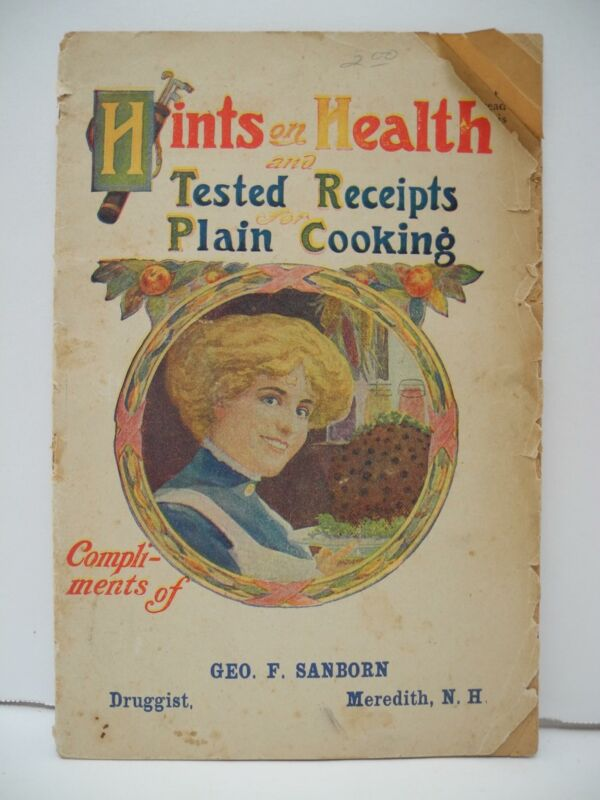 Hints on Health Tested Receipts for Plain Cook Booklet Geo Sanborn, Meredith, NH