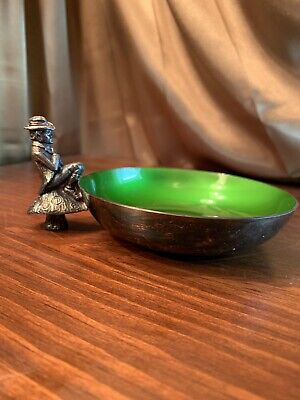 #105-9 Green Enamel Beach Colors Lot of 2 Vintage Reed /& Barton Silverplate Bowls #1120-6 12 Blue Enamel