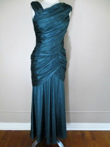 Tadashi Shoji Evening Gown Dress Small Ladies teal green matte satin shirred