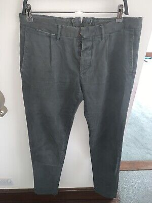 Incotex Mens Designer Grey Cotton Chino Trousers Pants
