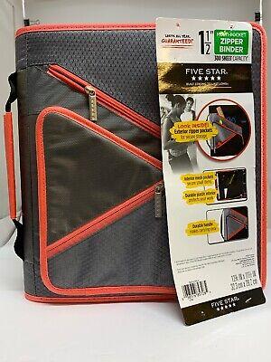 Five Star Multi Pocket 1-12 Zipper Binder 300 Sheet Capacity Gray-coral Piping