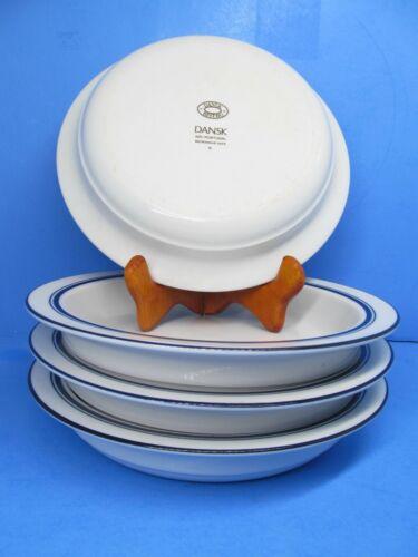 """Dansk Bistro Christianshavn Blue 8"""" Rimmed Soup Bowls Set Of 4 Bowls   Excellent"""
