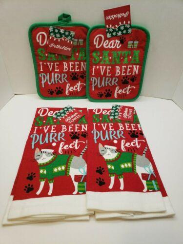 New Christmas Set of 4 KITCHEN TOWELS & POT HOLDERS  Cat Dear Santa Purr fect