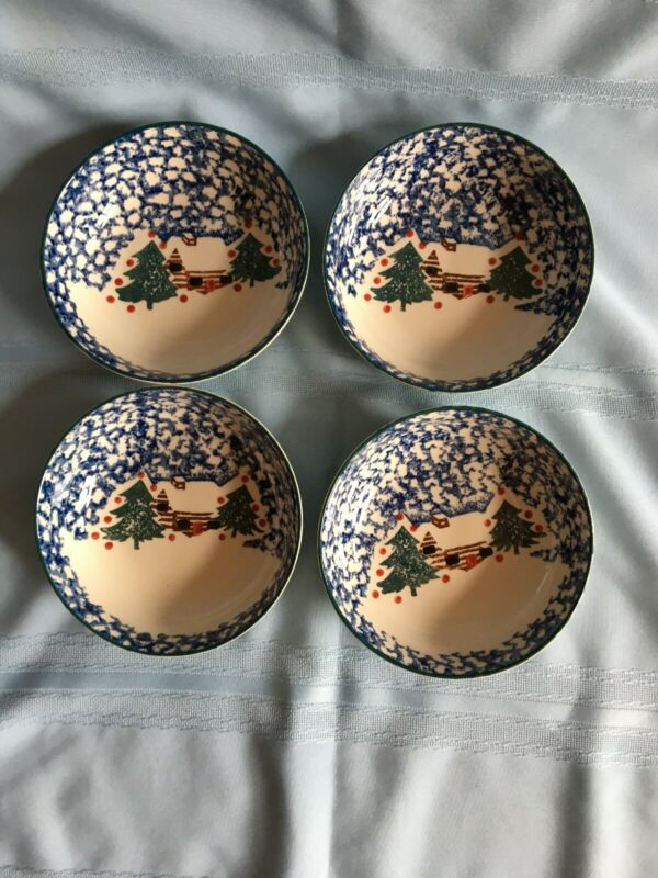 "Set of 4 Tienshan Folk Craft CABIN IN THE SNOW 6 1/2"" Bowls"